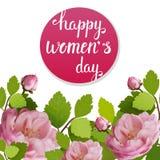 Tarjeta de felicitación hermosa con el día de fiesta del 8 de marzo, del día internacional del ` s de las mujeres con las rosas d Imagenes de archivo