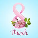 Tarjeta de felicitación hermosa con el día de fiesta del 8 de marzo, del día internacional del ` s de las mujeres con las rosas y Imagenes de archivo