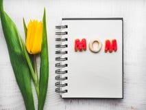 Tarjeta de felicitación hermosa con la palabra MAMÁ fotos de archivo libres de regalías
