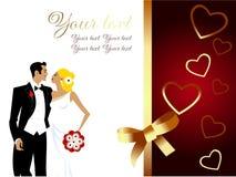 Tarjeta de felicitación hermosa de los pares de la boda Foto de archivo