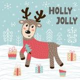 Tarjeta de felicitaci?n de Holly Jolly Christmas con un ciervo lindo stock de ilustración