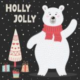 Tarjeta de felicitaci?n de Holly Jolly con un oso polar lindo libre illustration