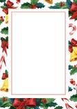 Tarjeta de felicitación holyday del invierno Plantilla de la tarjeta de la invitación de la acuarela Fotografía de archivo