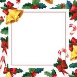 Tarjeta de felicitación holyday del invierno Plantilla de la tarjeta de la invitación de la acuarela Foto de archivo