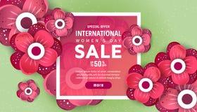 Tarjeta de felicitación internacional del día del ` s de las mujeres ilustración del vector
