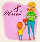 Tarjeta de felicitación internacional feliz del día del ` s de las mujeres stock de ilustración