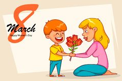 Tarjeta de felicitación internacional feliz del día del ` s de las mujeres ilustración del vector