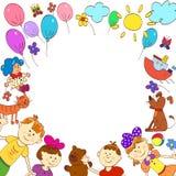 Tarjeta de felicitación, invitación, bandera Capítulo para su texto con los niños Imágenes de archivo libres de regalías