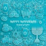 Tarjeta de felicitación de Jánuca con Torah, el menorah y los dreidels  libre illustration