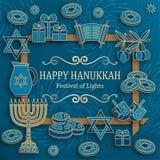 Tarjeta de felicitación de Jánuca con Torah, el menorah y los dreidels Lugar para su texto stock de ilustración