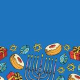 Tarjeta de felicitación judía de Jánuca del día de fiesta Frontera inconsútil de los símbolos tradicionales de Hanukkah aislada e
