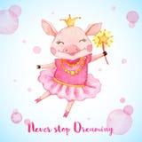 Tarjeta de felicitación de la acuarela con el cerdo lindo de la bailarina ilustración del vector