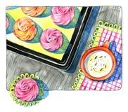 Tarjeta de felicitación de la acuarela Taza y dulces, melcocha, merengue receta ooking stock de ilustración