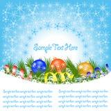 Tarjeta de felicitación de la bandera de la Navidad con las ramas de la picea, copos de nieve, imagen de archivo libre de regalías