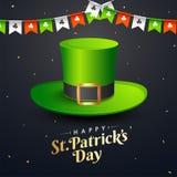 Tarjeta de felicitación de la celebración del día de St Patrick feliz ilustración del vector