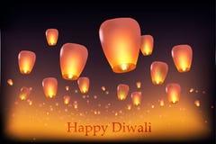 Tarjeta de felicitación de la celebración de Diwali con la lámpara flotante en el cielo nocturno ilustración del vector