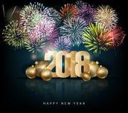 Tarjeta 2018 de felicitación de la Feliz Año Nuevo Imagen de archivo libre de regalías