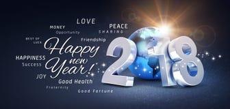 Tarjeta 2018 de felicitación de la Feliz Año Nuevo Fotografía de archivo libre de regalías