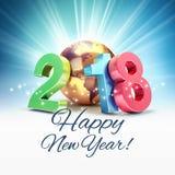 Tarjeta 2018 de felicitación de la Feliz Año Nuevo Foto de archivo