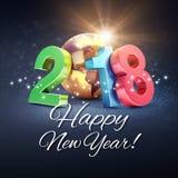 Tarjeta 2018 de felicitación de la Feliz Año Nuevo Fotos de archivo libres de regalías