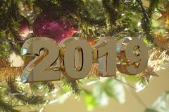 Tarjeta de felicitación de la Feliz Año Nuevo 2019 foto de archivo libre de regalías