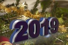 Tarjeta de felicitación de la Feliz Año Nuevo 2019 fotografía de archivo libre de regalías
