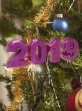 Tarjeta de felicitación de la Feliz Año Nuevo 2019 imagen de archivo libre de regalías