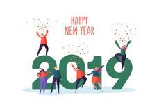 Tarjeta 2019 de felicitación de la Feliz Año Nuevo Caracteres planos de la gente en Santa Claus Hats Celebrating Party con confet Stock de ilustración