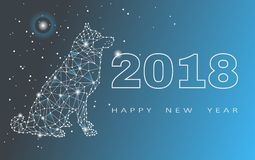 Tarjeta de felicitación de la Feliz Año Nuevo 2018 Celebración con el perro 2018 Años Nuevos chinos del perro Ilustración del vec Foto de archivo