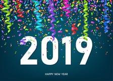 Tarjeta de felicitación de la Feliz Año Nuevo 2019 con confeti y cintas stock de ilustración