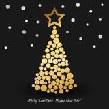 Tarjeta de felicitación de la Feliz Año Nuevo con el árbol de navidad abstracto de círculos de oro Ilustración del vector Imagenes de archivo