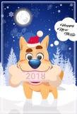 Tarjeta de felicitación de la Feliz Año Nuevo con el perro en el símbolo 2018 de Santa Hat Holding Christmas Bone sobre el bosque Fotos de archivo libres de regalías