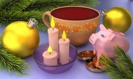 Tarjeta de felicitación de la Feliz Año Nuevo con las bolas de la Navidad, las velas y un cerdo representación 3d fotos de archivo