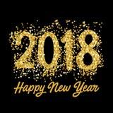 Tarjeta 2018 de felicitación de la Feliz Año Nuevo con números del oro Ilustración del vector Diseño del aviador de la Feliz Navi ilustración del vector