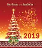 Tarjeta de felicitación de la Feliz Año Nuevo 2019/con un árbol de navidad ilustración del vector
