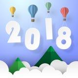 Tarjeta 2018 de felicitación de la Feliz Año Nuevo del diseño Fotos de archivo