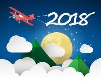 Tarjeta 2018 de felicitación de la Feliz Año Nuevo del diseño Fotos de archivo libres de regalías