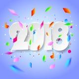 Tarjeta 2018 de felicitación de la Feliz Año Nuevo del diseño Fotografía de archivo