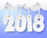Tarjeta 2018 de felicitación de la Feliz Año Nuevo del diseño Foto de archivo