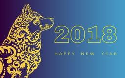 Tarjeta de felicitación de la Feliz Año Nuevo 2018 Año del perro Año Nuevo chino con la mano garabatos dibujados Ilustración del  Imagen de archivo