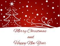Tarjeta de felicitación de la Feliz Año Nuevo en rojo Foto de archivo