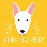 Tarjeta de felicitación de la Feliz Año Nuevo 2018 Fondo amarillo de la celebración con bull terrier Ilustración del vector Imágenes de archivo libres de regalías