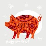 Tarjeta de felicitación de la Feliz Año Nuevo 2019 fondo con el cerdo Fotografía de archivo