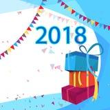 Tarjeta 2018 de felicitación de la Feliz Año Nuevo Fondo del aviador del día de fiesta por la celebración de la Navidad del Año N Imagenes de archivo