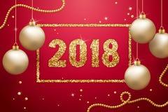 Tarjeta 2018 de felicitación de la Feliz Año Nuevo Fondo festivo Los números del brillo del oro diseñan con las bolas y las guirn Foto de archivo libre de regalías