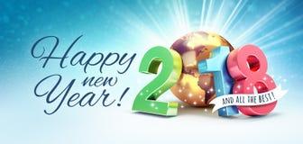 Tarjeta 2018 de felicitación de la Feliz Año Nuevo para el mejor Imagenes de archivo