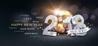 Tarjeta 2018 de felicitación de la Feliz Año Nuevo para todo el mejor Imagen de archivo libre de regalías