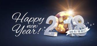 Tarjeta 2018 de felicitación de la Feliz Año Nuevo para todo el mejor Foto de archivo
