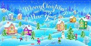 Tarjeta de felicitación de la Feliz Año Nuevo y de la Feliz Navidad Imagenes de archivo