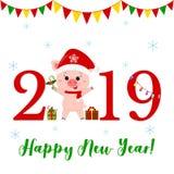 Tarjeta de felicitación de la Feliz Año Nuevo y de la Feliz Navidad Cerdo lindo en el sombrero y la bufanda de Papá Noel que sost stock de ilustración